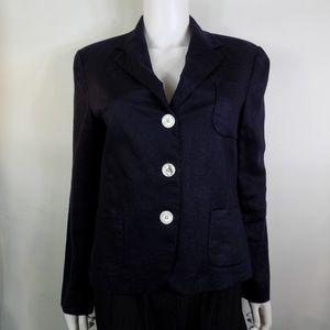 Lauren Ralph Lauren Navy Blue Linen Fitted Blazer